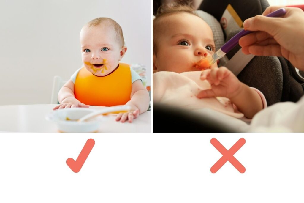 Seating position for baby eating finger foods